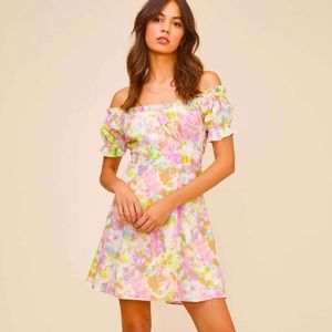 ASTR Tie Dye Off the Shoulder Dress